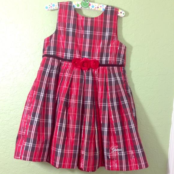 guess christmas red plaid dress with rose trim 4t - Christmas Plaid Dress